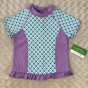 Garnet Hill Kids Rashguard Swim Shirt Purple White